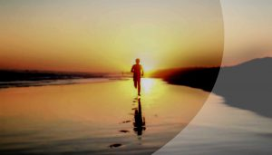 Läufer am Strand, Silhouette, Abendstimmung