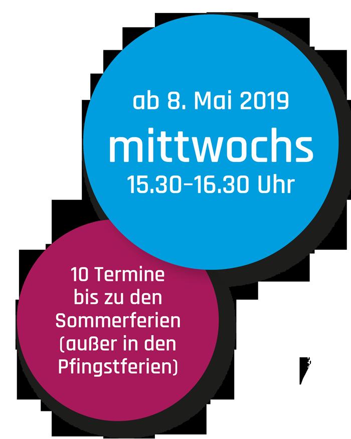 Runde Farbflächen mit Infos zu Kurs Aerial Yoga Kids, Mittwochs ab 8. Mai 2019, 15.30 bis 16.30 Uhr