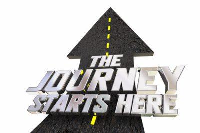 The Journey Starts Here Begin Travel Adventure Road Arrow Direction 3d Illustration